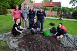Cambridge University's outreach unit, Access Cambridge Archaeology have been guiding local students in atwo day dig at Old Clee. Standing from left, Ormiston Maritime Academy pupils Leah Brambley and Shay Rafferty, with Alison Dickens, head of ACA and Cat Collins, archaeologist. Seated, OMA pupil Alicia Clarke, Emily Ryley ACA administrator and teacher Lisa Brittain. Picture: Abby Ruston Buy this photo at www.grimsbytelegraph.co.uk/buyaphoto or by calling the free number 03444 060 910 Requested by:  Date: 18 may 2017 Keywords: archaeology old clee cambridge